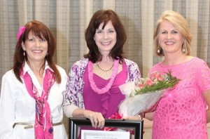 Receiving the Susan G. Komen Triangle to the Coast Maureen Thomas Jordan Spirit of Survivorship Award, Raleigh, NC.